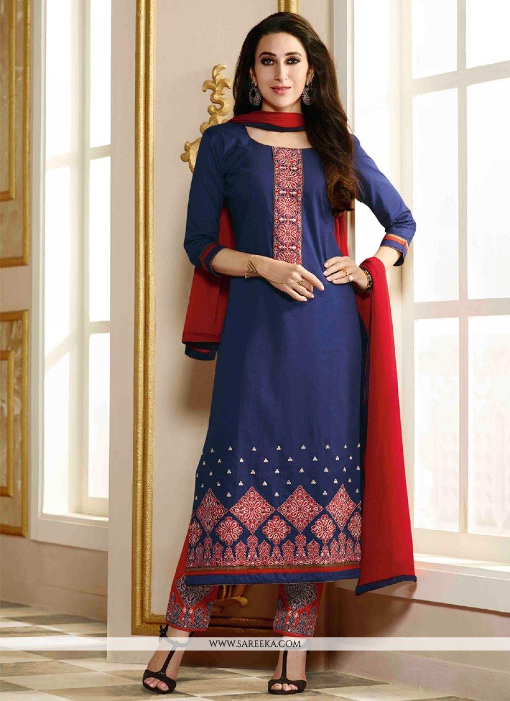 Karishma Kapoor Navy Blue Designer Straight Salwar Kameez