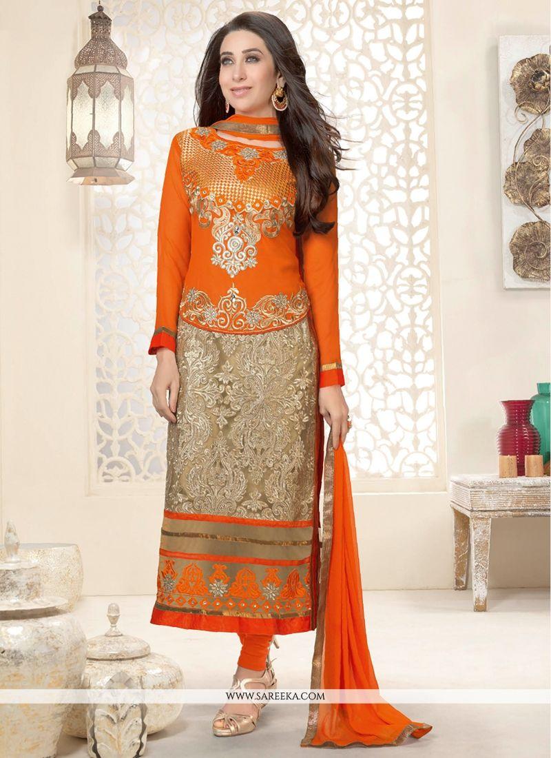 Karishma Kapoor Orange And Beige Salwar Suit