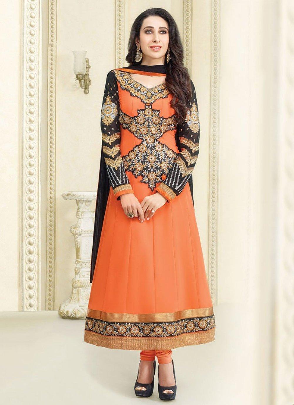 Karishma Kapoor Orange Embroidery Anarkali Suit