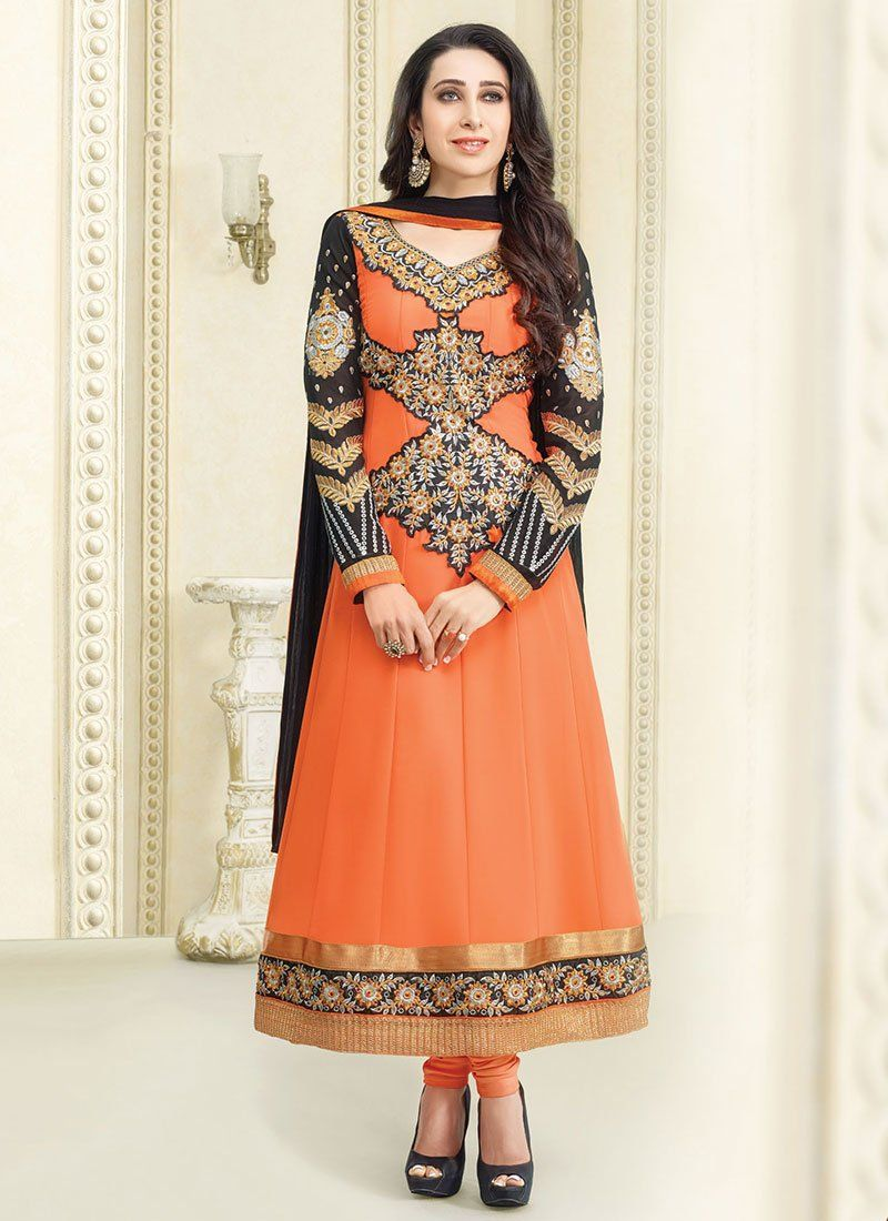 Karishma Kapoor Orange Embroidery Anarkali Suit