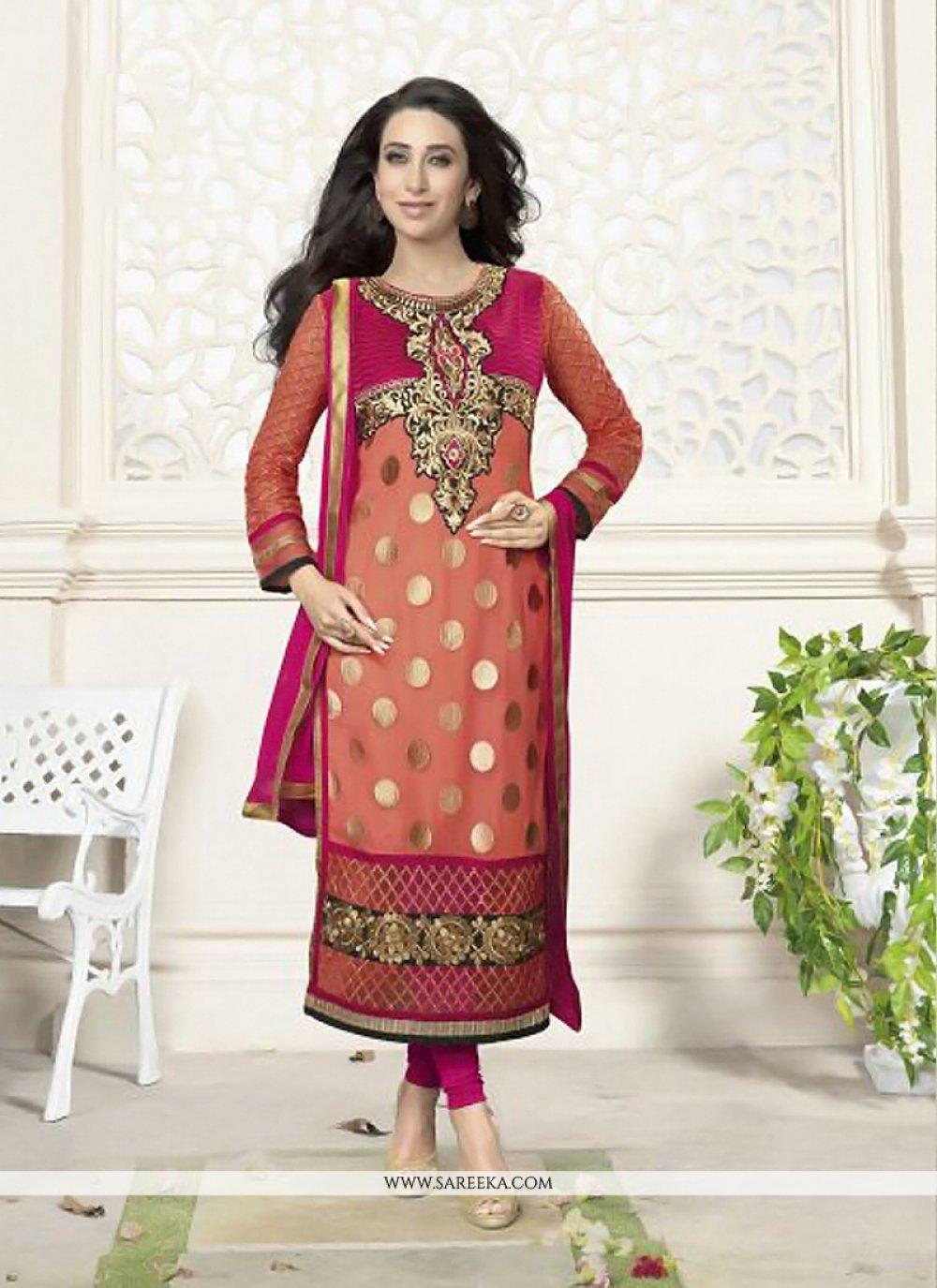 Karishma Kapoor Peach Georgette Churidar Suit