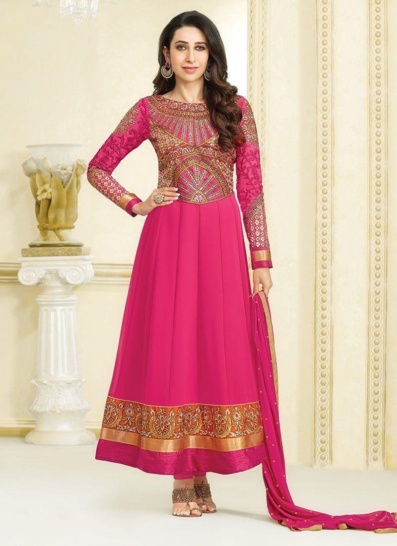 Karishma Kapoor Pink Embroidery Georgette Anarkali Suit