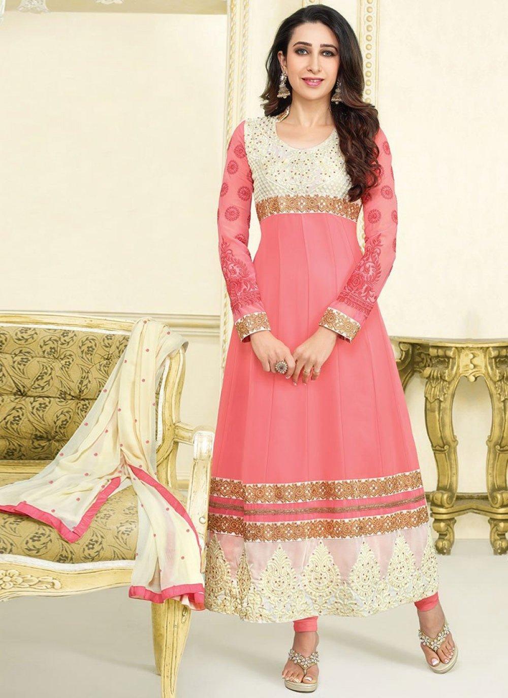 Karishma Kapoor Pink Resham Georgette Anarkali Suit