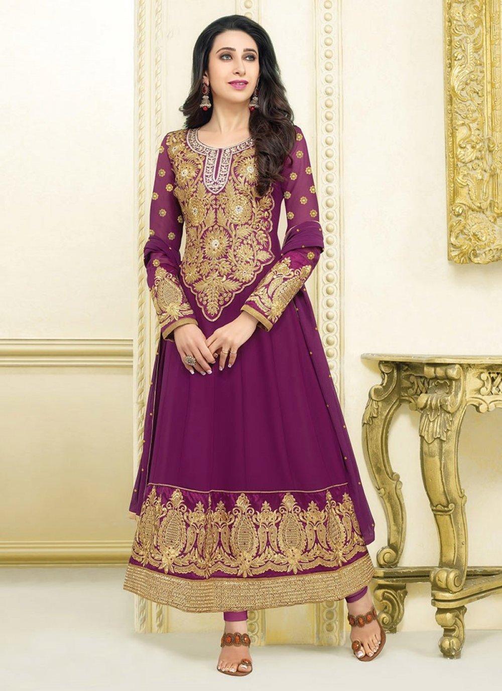 Karishma Kapoor Purple Resham Georgette Anarkali Suit