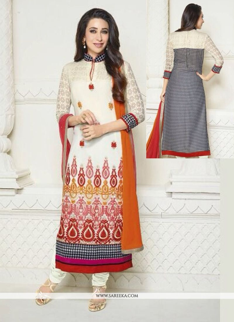 Karishma Kapoor White Resham Work Churidar Suit