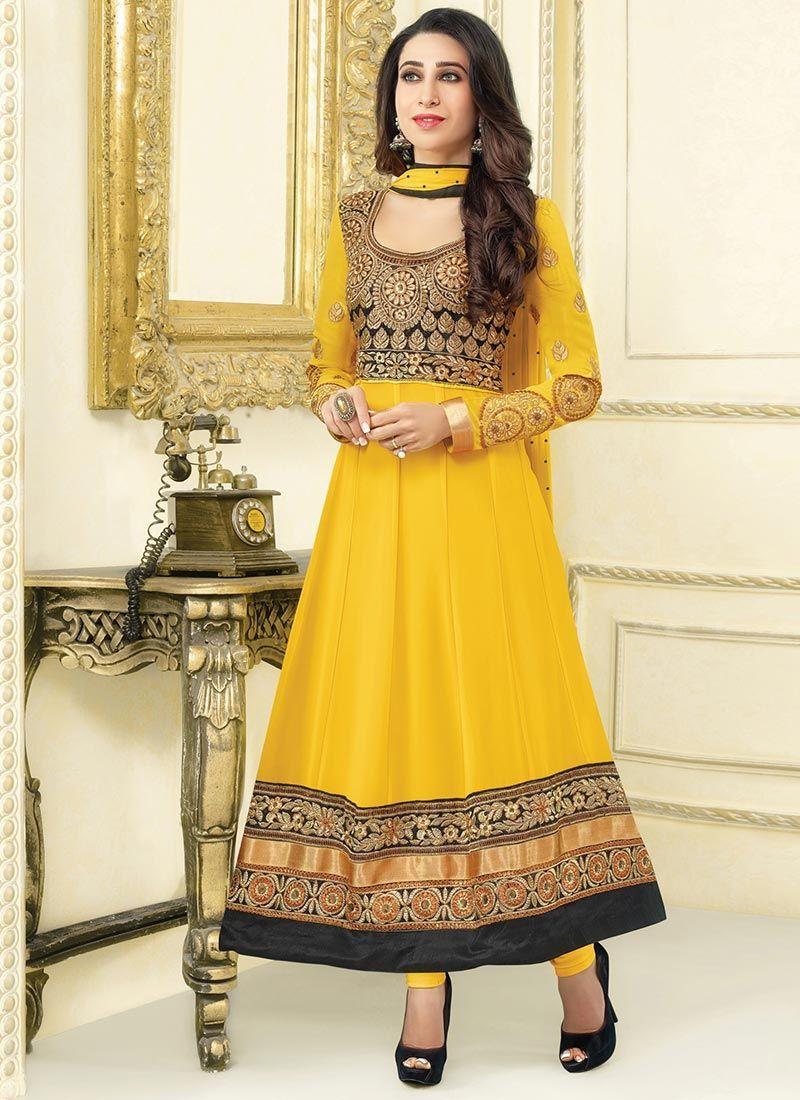 Karishma Kapoor Yellow Patch Border Work Anarkali Suit