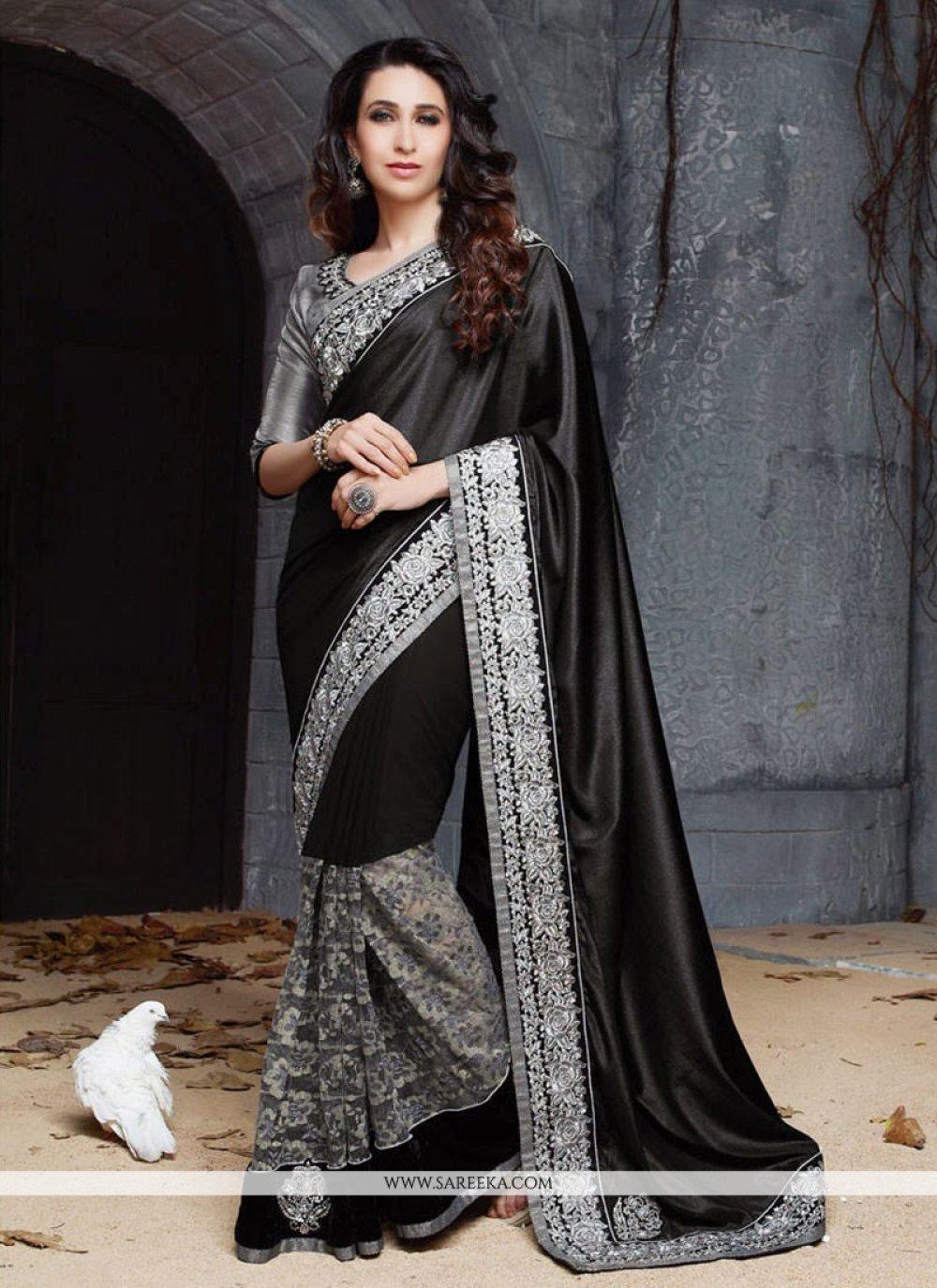 Karisma Kapoor Black Crepe Silk Saree