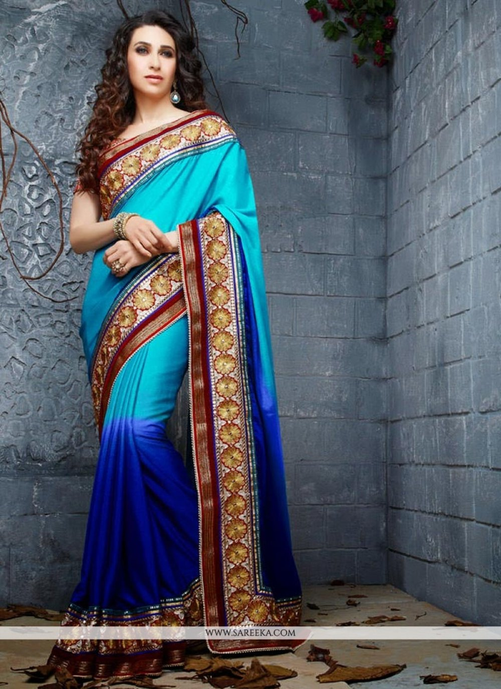 Karisma Kapoor Blue Crepe Chiffon Saree