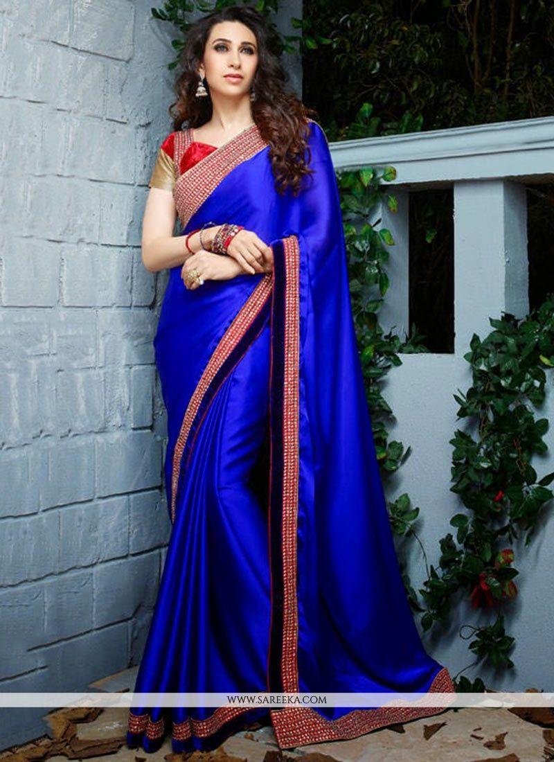 Karisma Kapoor Blue Crepe Silk Saree