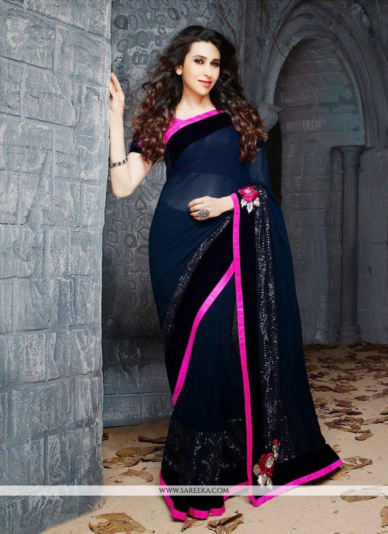 Karisma Kapoor Blue Faux Georgette Saree