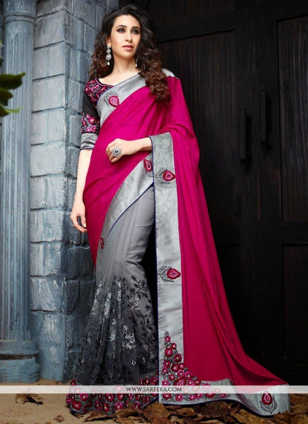 Karisma Kapoor Grey Georgette Half And Half Saree