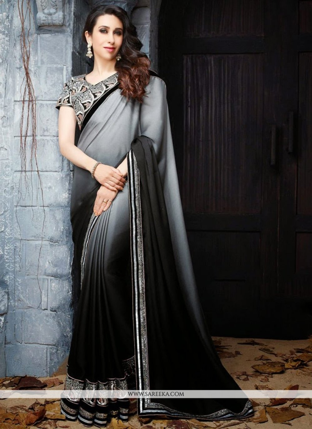 Karisma Kapoor Grey Georgette Saree