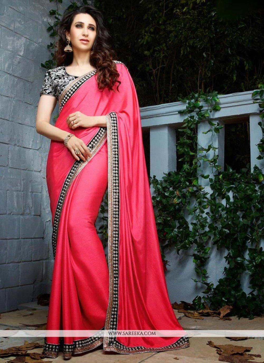 Karisma Kapoor Pink Crepe Chiffon Saree