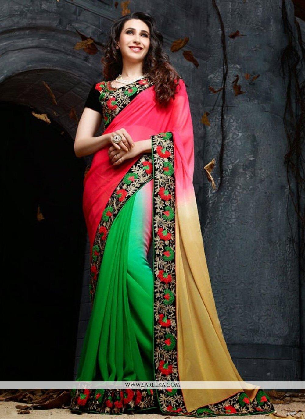 Karisma Kapoor Pink Georgette Saree