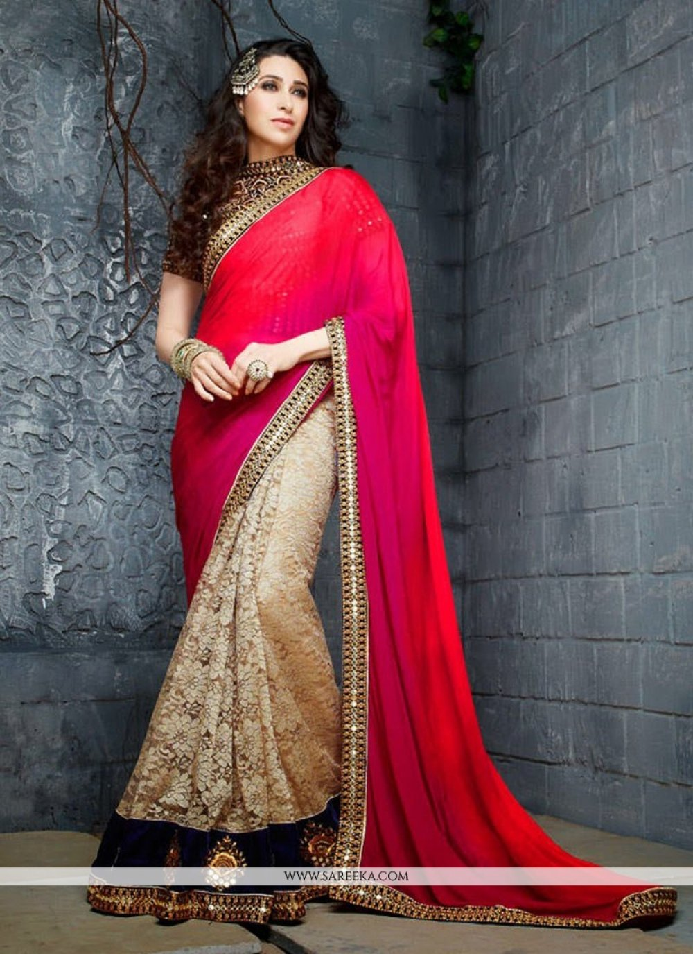 Karisma Kapoor Red And Cream Half And Half Saree