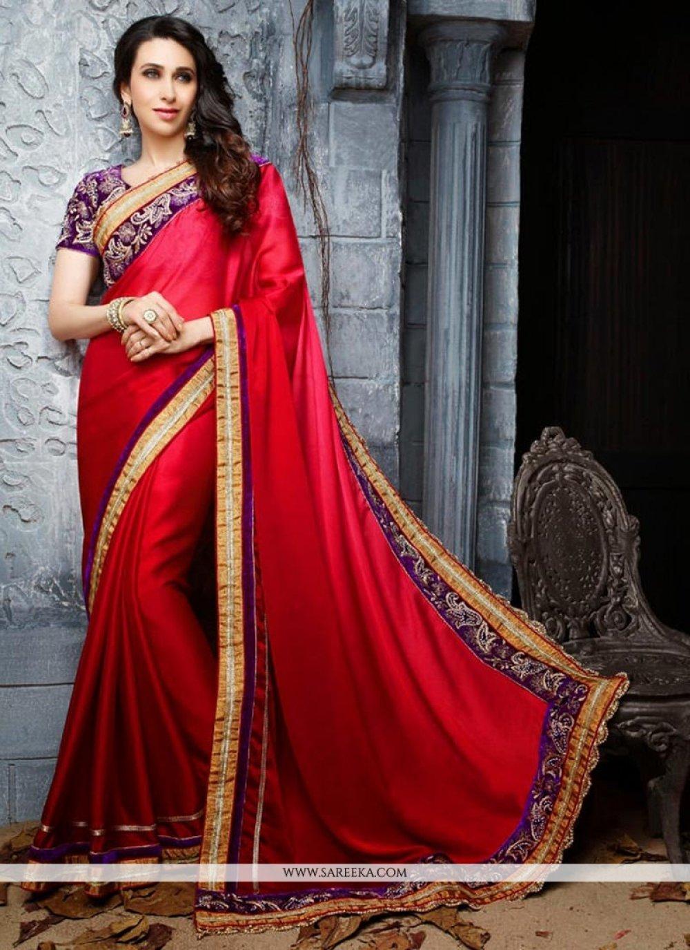 Karisma Kapoor Red Crepe Chiffon Saree