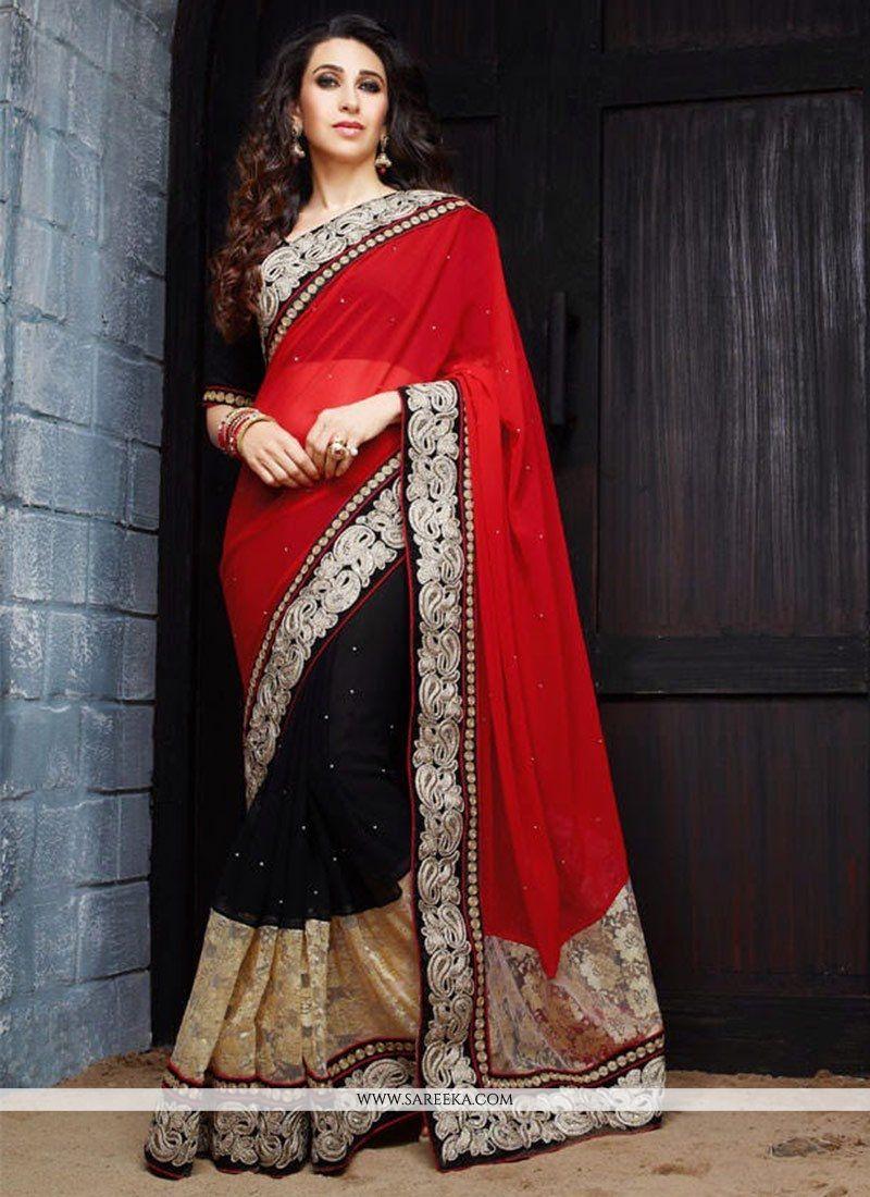Karisma Kapoor Red Georgette Half And Half Saree