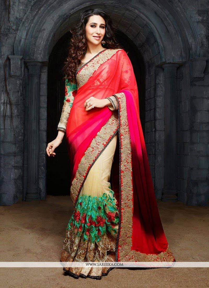 Karisma Kapoor Red Net Half And Half Saree