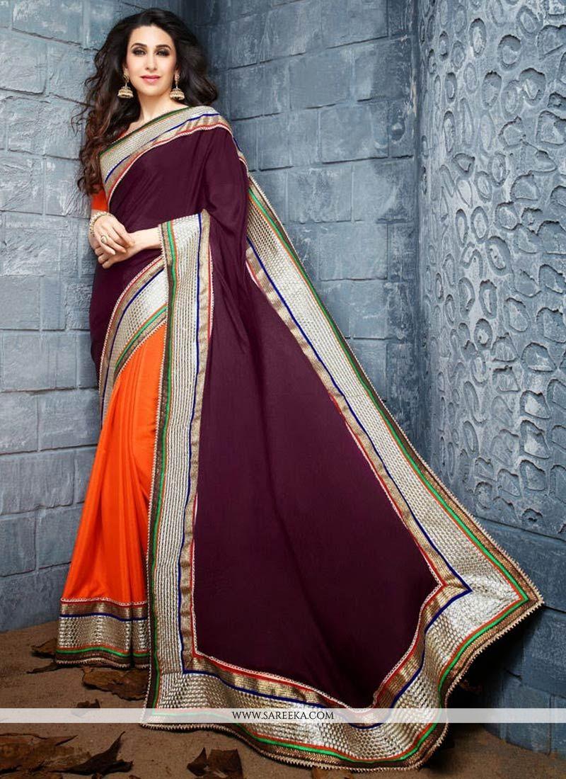 Karisma Kapoor Wine And Orange Half And Half Saree