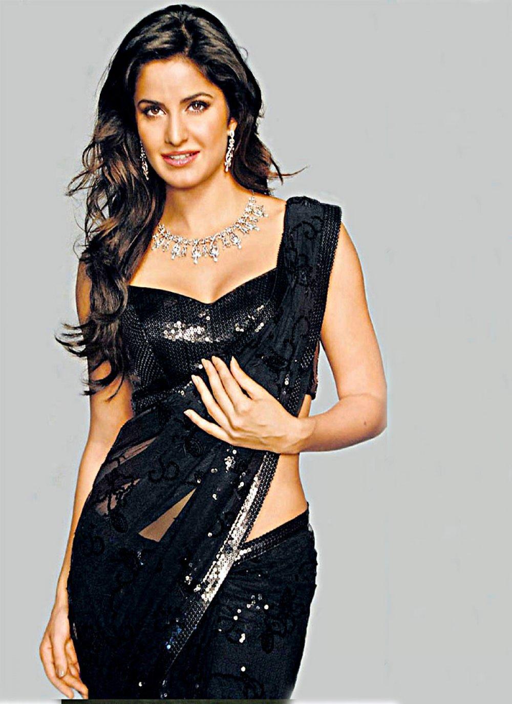 Katrina Kaif Flamboyant Black Embroidered Saree