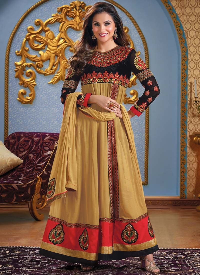 Lara Dutta Beige Resham Length Anarkali Suit