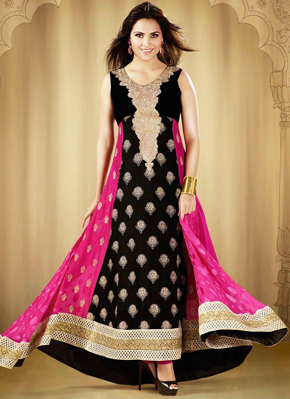 Lara Dutta Black And Pink Patch Border Work Anrkali Suit