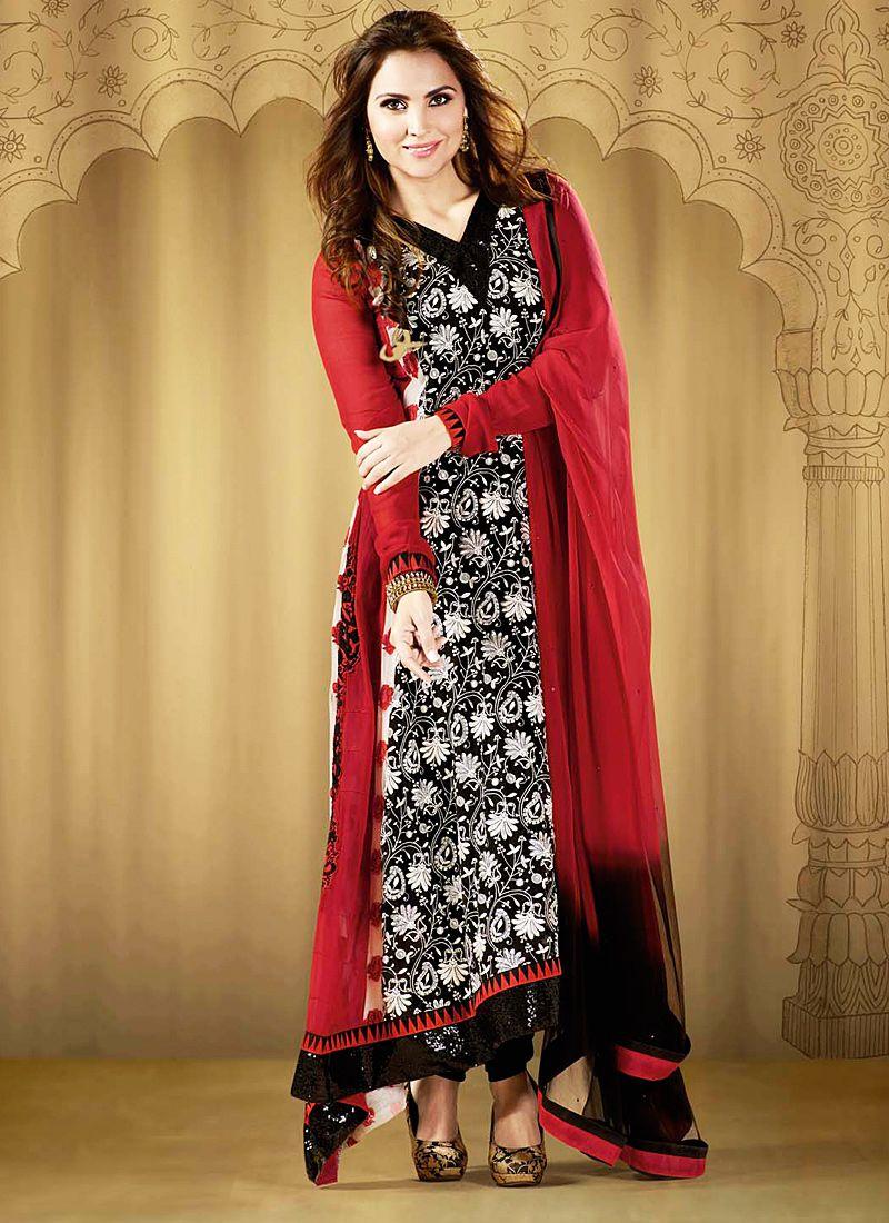 Lara Dutta Black And Red Resham Work Georgette Anarkali Suit