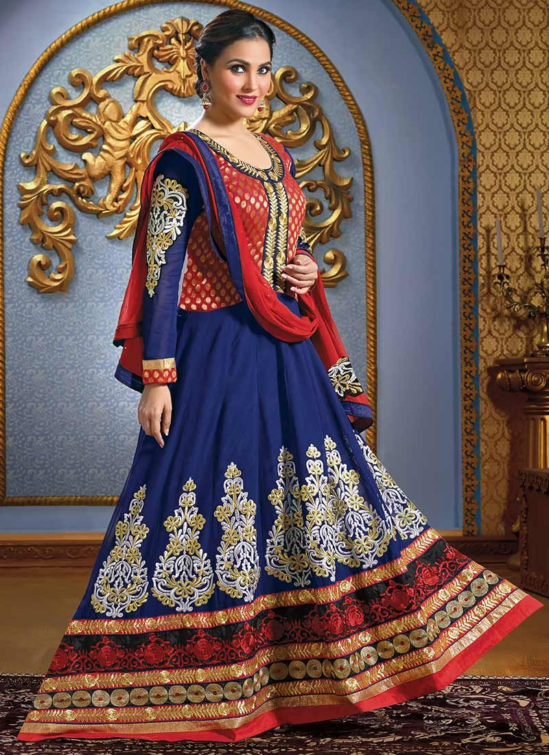 Lara Dutta Blue Resham Floor Length Anarkali Suit