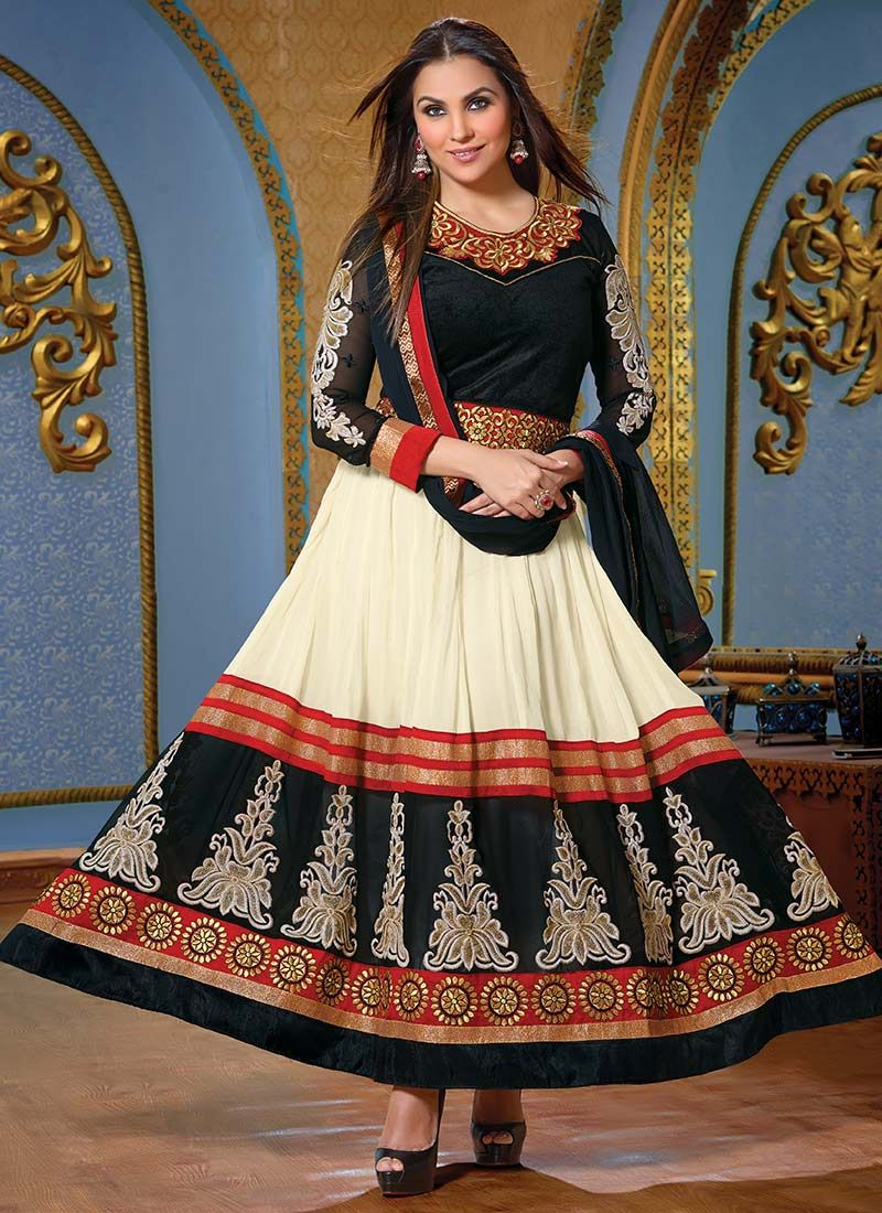 Lara Dutta Cream Embroidery Work Anarkali Suit