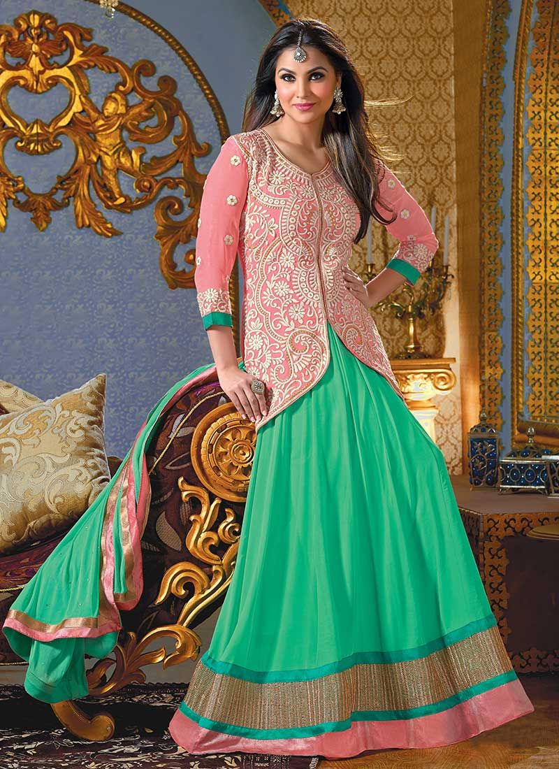 Lara Dutta Green Georgette Length Anarkali Suit
