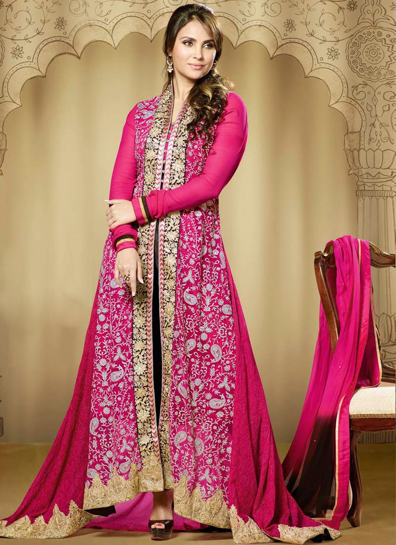 Lara Dutta Magenta Embroidery Work Georgette Anarkali Suit