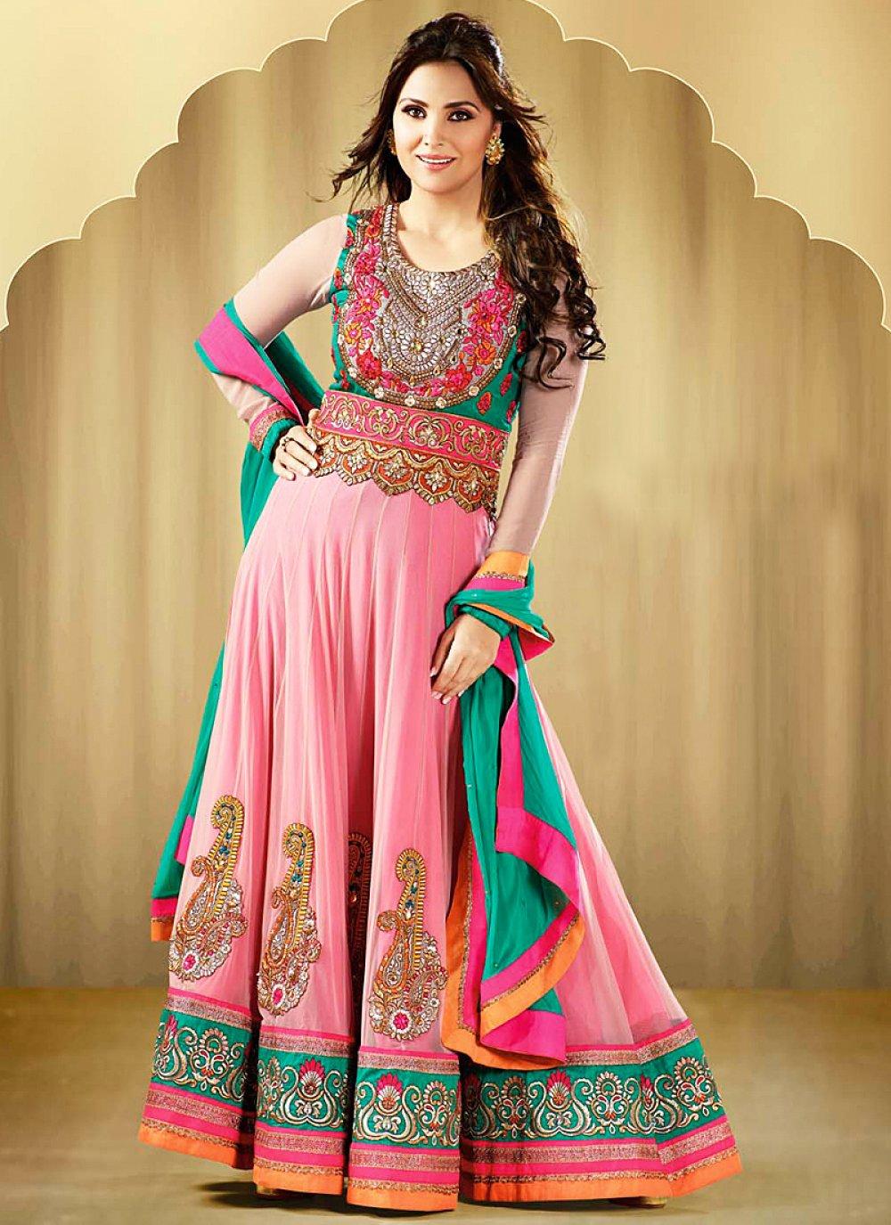Lara Dutta Pink Embroidery Work Faux Georgette Anarkali Suit
