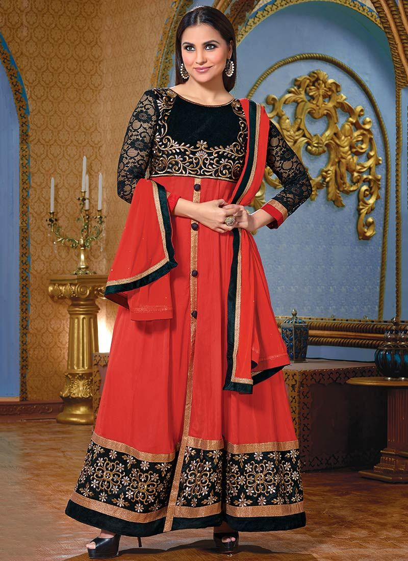 Lara Dutta Red Embroidery Ankle Anarkali Suit