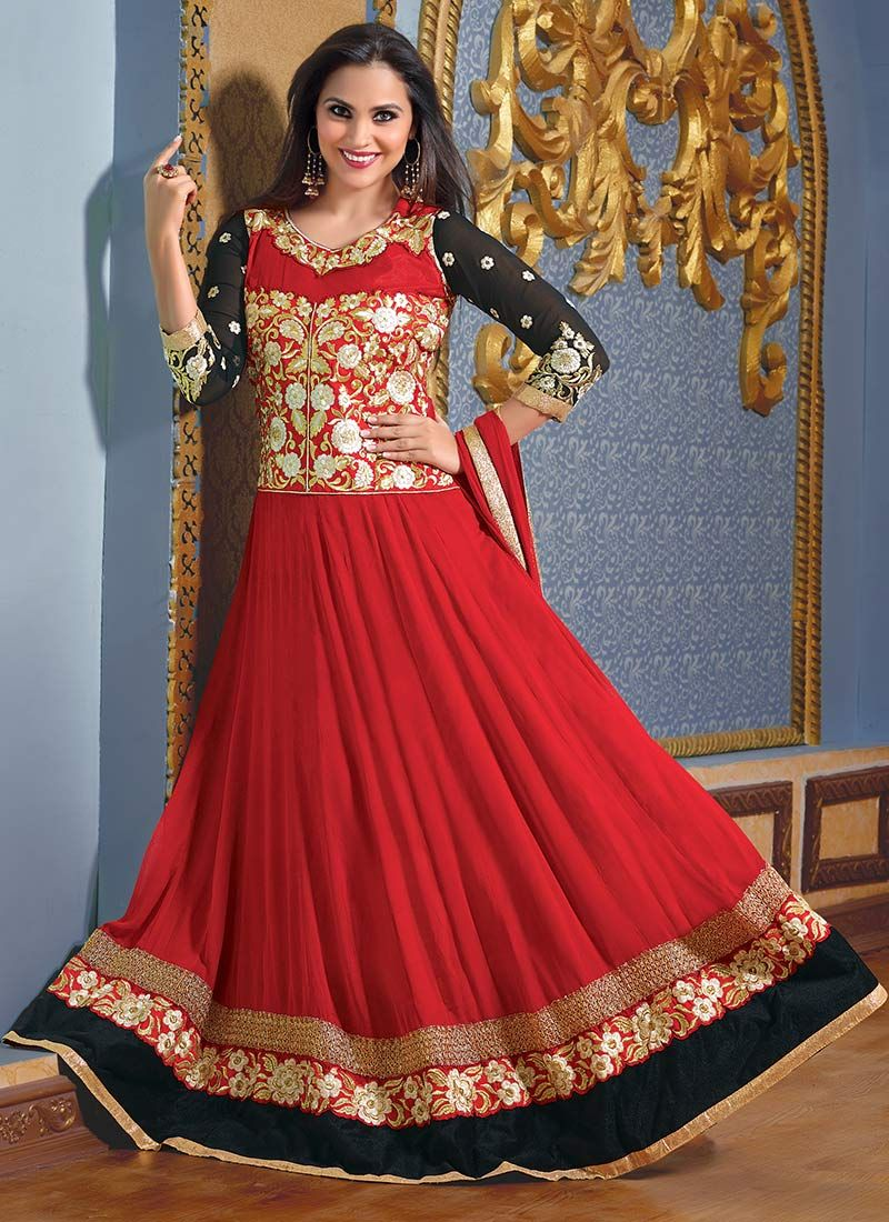 Lara Dutta Red Embroidery Length Anarkali Suit