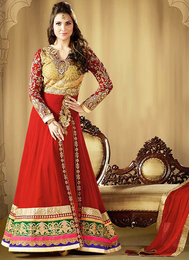 Lara Dutta Red Zari Work Faux Georgette Anarkali Salwar Suit