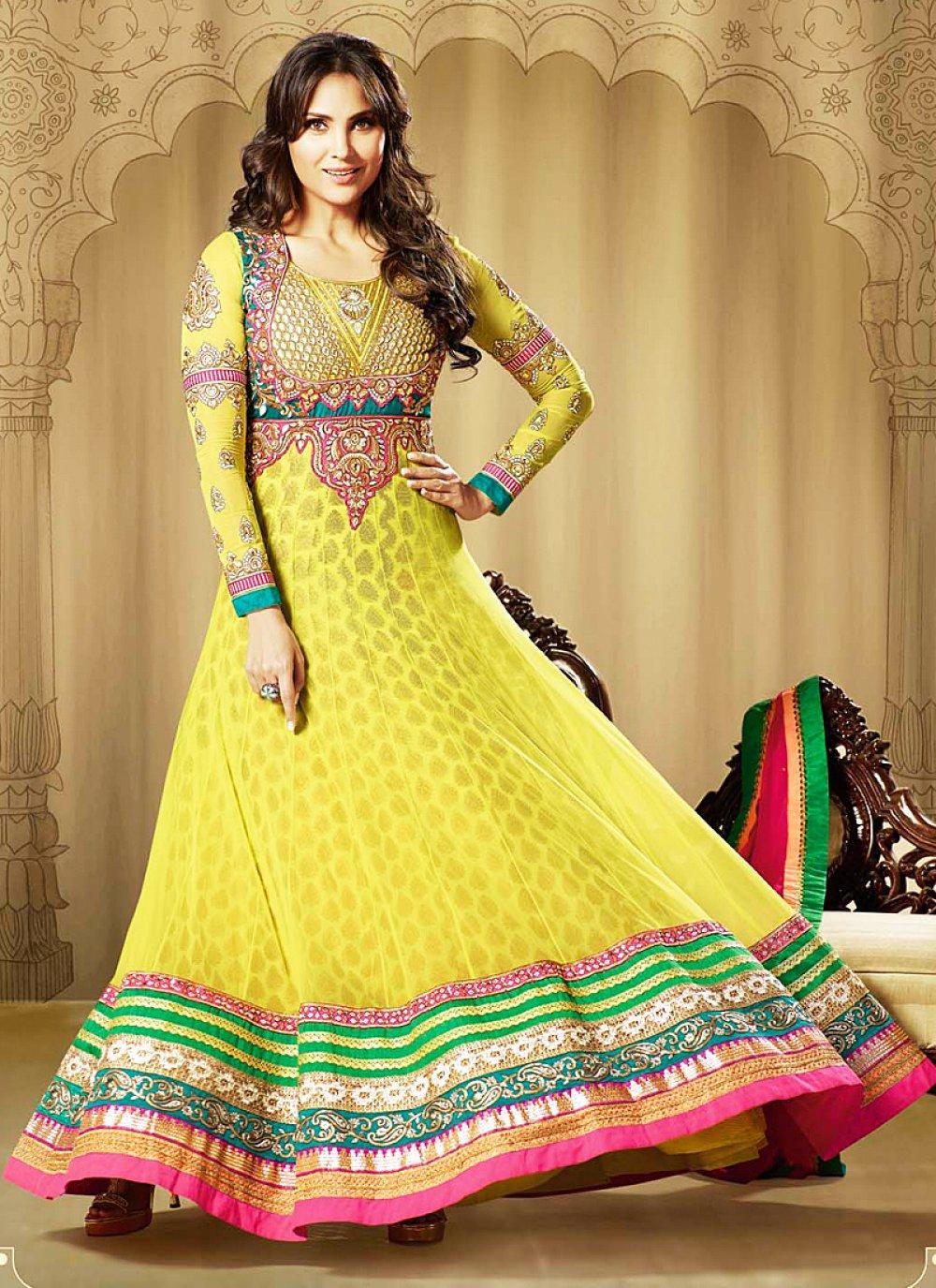 Lara Dutta Yellow Embroidery Work Georgette Anarkali Suit