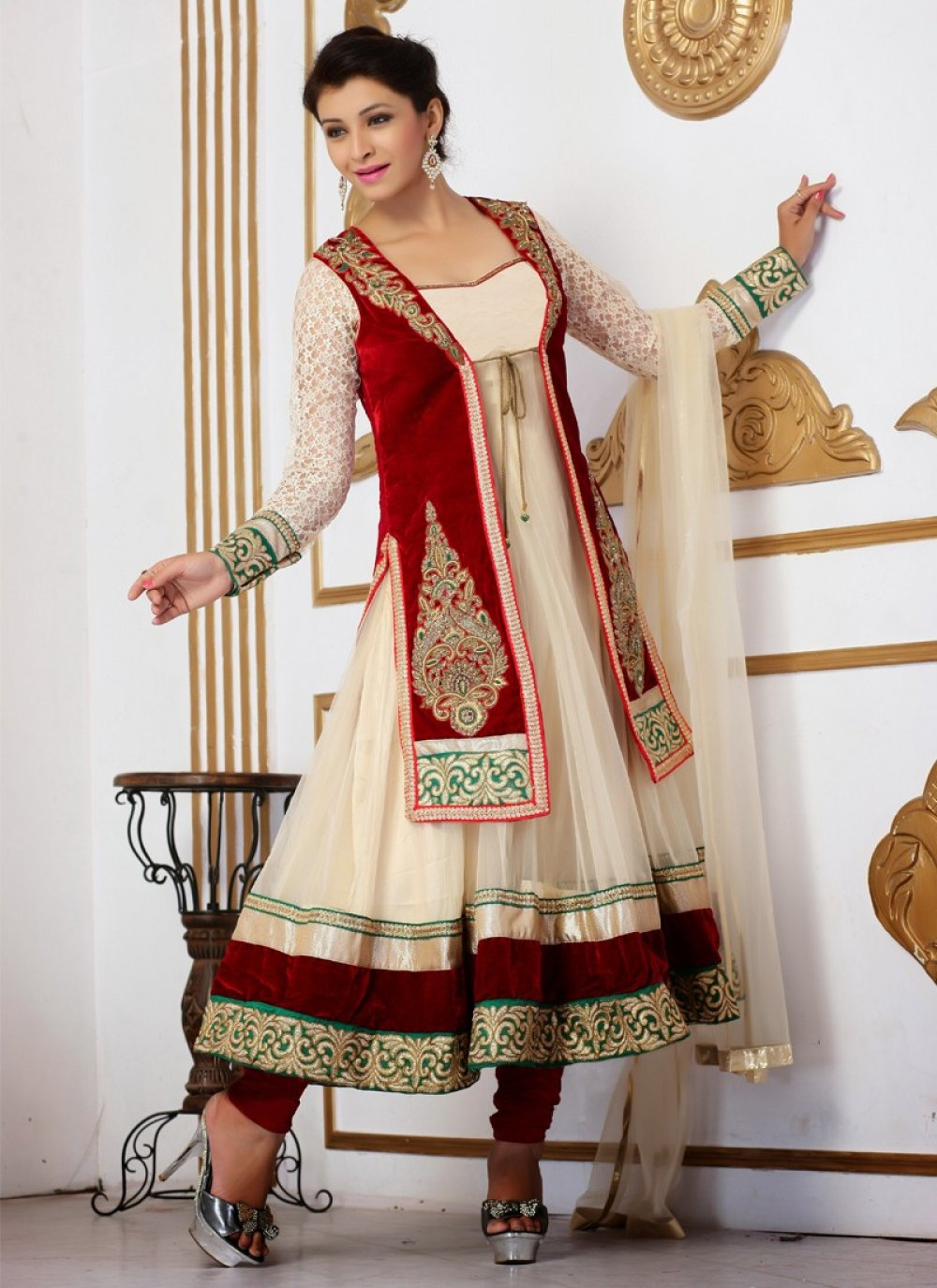 Beige And Maroon Resham Work Net Anarkali Suit