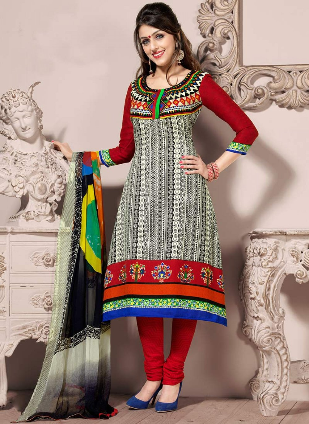 Beige And Red Creap Churidar Suit