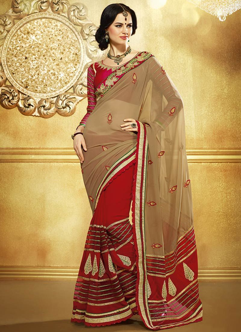 Beige And Red Embroidered Worked Half And Half Saree