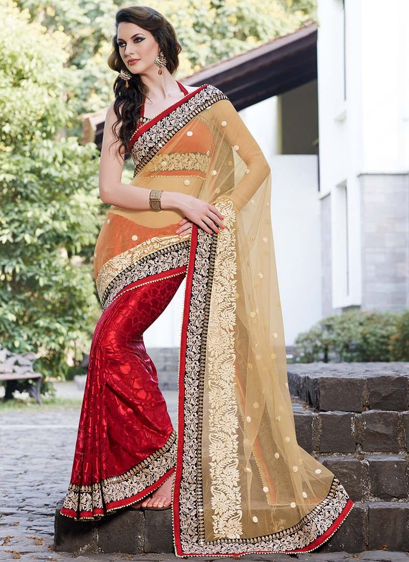 Beige Net Embroidery Borders Saree