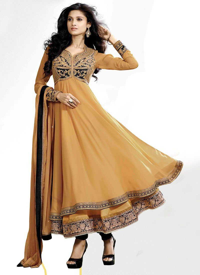 Beige Sequins Work Georgette Anarkali Suit