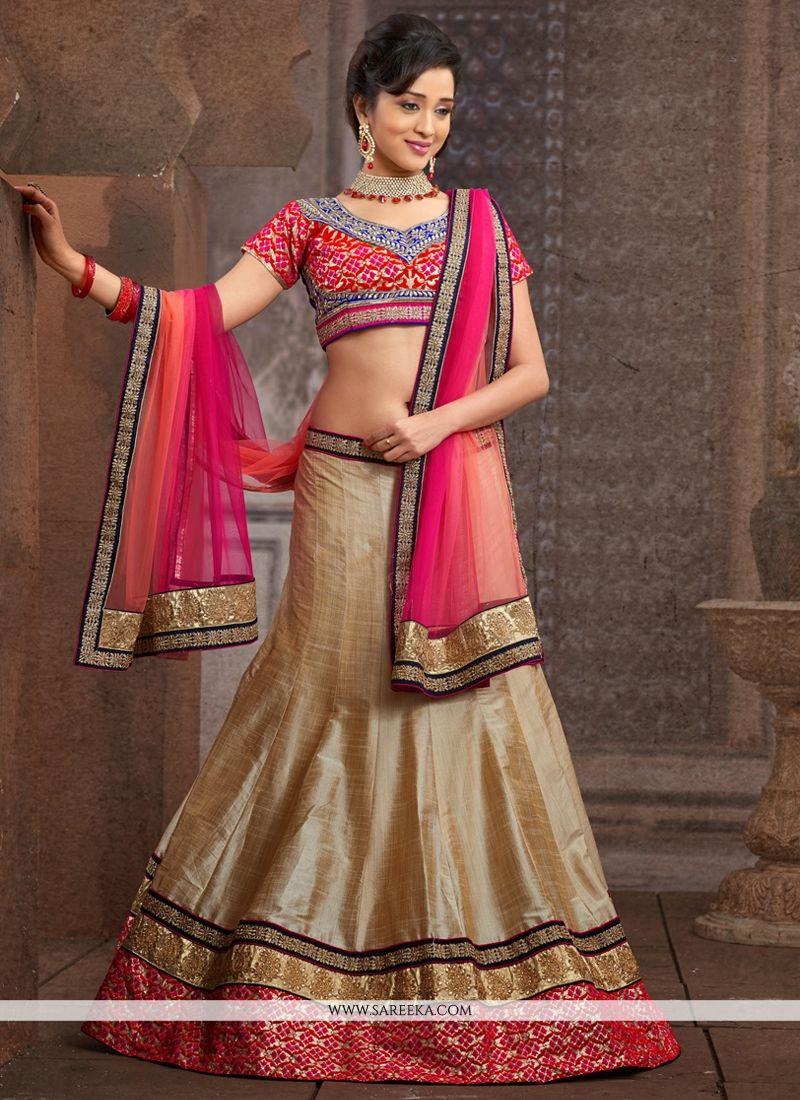 Beige Silk Designer Lehenga Choli
