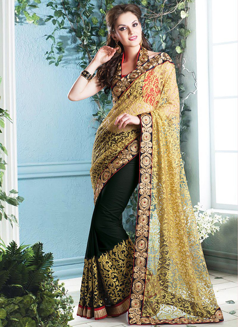 Black And Golden Resham Net Brasso Saree
