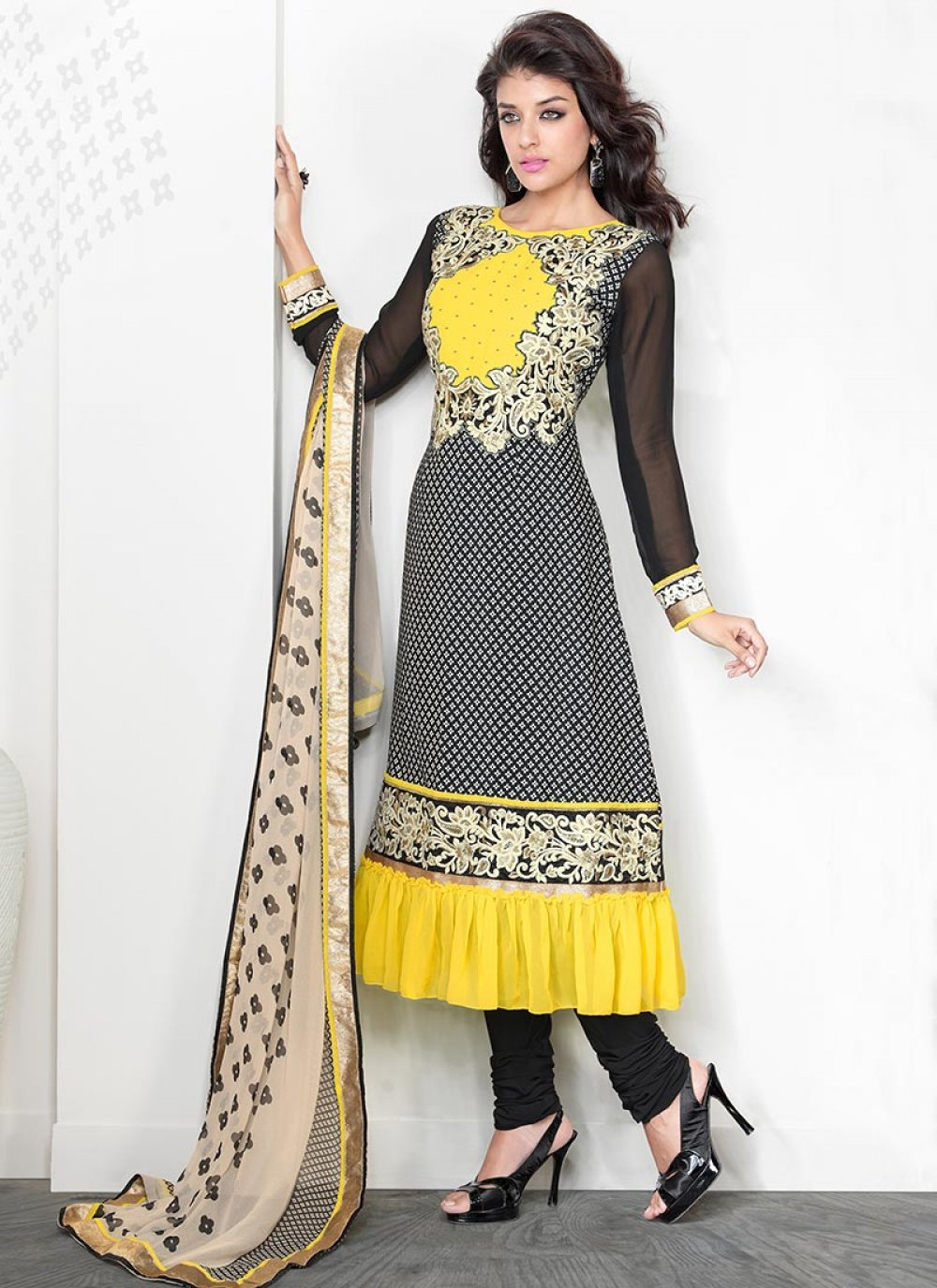 Black And Yellow Faux Crepe Churidar Suit