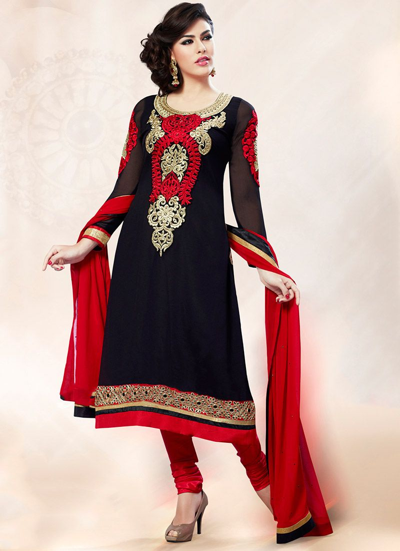 Black Embroidered Georgette Churidar Suit