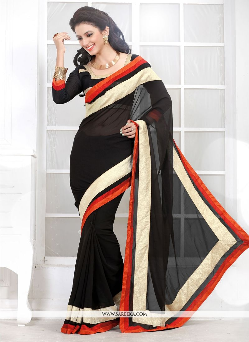 Black Georgette Casual Saree