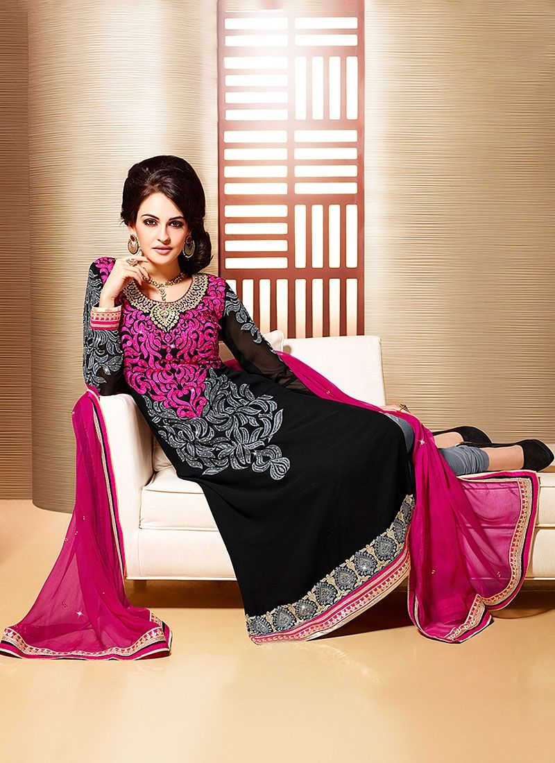 Black Resham Work Faux Georgette Churidar Suit