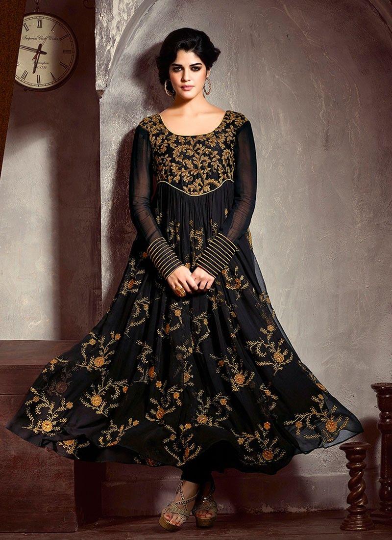 10b8237473 Black Resham Work Velvet Net Anarkali Suit -