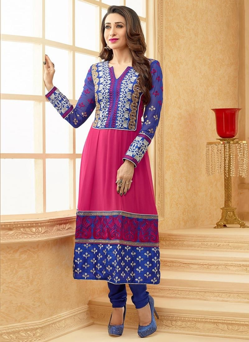 Blue And Pink Embroidered Resham Work Churidar Suit