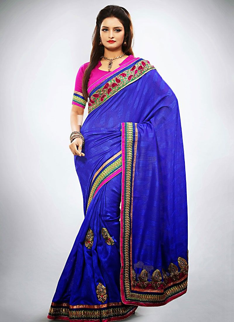Blue Jacquard Wedding Saree